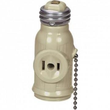 outlet base socket w pull chain. Black Bedroom Furniture Sets. Home Design Ideas